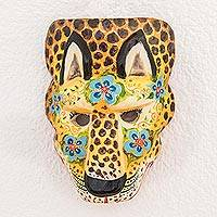 Wood mask, 'Floral Sacred Energy' - Floral Pinewood Jaguar Wall Mask from Guatemala