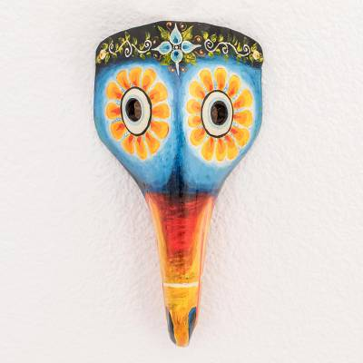 Wood mask, 'Floral Toucan in Blue' - Floral Toucan Pinewood Mask in Blue from Guatemala