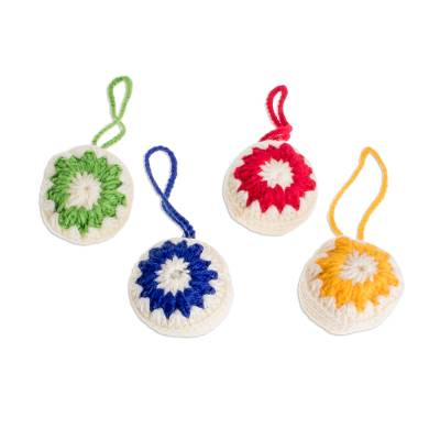 Assorted Star-Pattern Hand-Crocheted Ornaments (Set of 4)