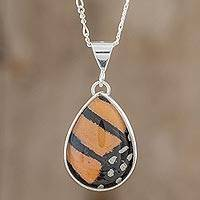 Butterfly wing pendant necklace, 'Monarch Butterfly Drop' - Drop-Shaped Monarch Butterfly Wing Pendant Necklace