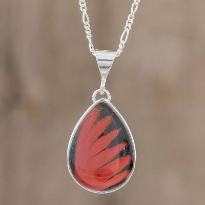 Butterfly wing pendant necklace, 'Red Doris Longwing Drop' - Red Doris Longwing Butterfly Pendant Necklace