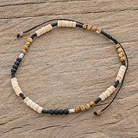 Jasper and onyx beaded anklet, 'Earthen Force' - Jasper and Onyx Beaded Anklet from Guatemala