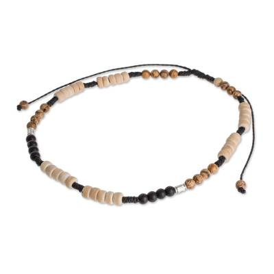 Jasper and Onyx Beaded Anklet from Guatemala
