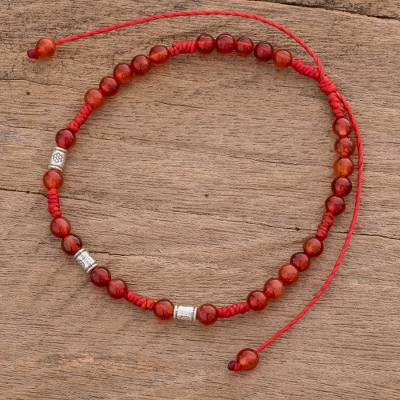 Agate beaded bracelet, 'Sweet Tangerine' - Agate Beaded Bracelet in Orange from Guatemala