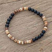 Onyx beaded stretch bracelet, 'Earthen Force' - Onyx and Coconut Shell Beaded Stretch Bracelet