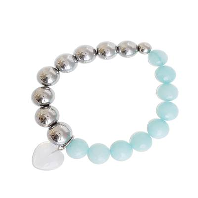 Aquamarine and Moonstone Heart Beaded Stretch Bracelet