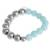 Aquamarine and moonstone beaded stretch bracelet, 'Oceanic Heart' - Aquamarine and Moonstone Heart Beaded Stretch Bracelet (image 2c) thumbail