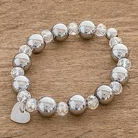 Crystal and stainless steel beaded stretch bracelet, 'Glittering Love' - Crystal and Stainless Steel Beaded Stretch Bracelet