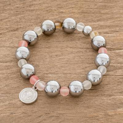 Quartz beaded stretch bracelet, 'Saint Benedict' - Saint Benedict Charm Quartz Beaded Stretch Bracelet
