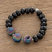 Drusy agate beaded stretch bracelet, 'Colorful Nocturn' - Drusy Agate and Black Crystal Beaded Stretch Bracelet