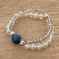 Drusty agate beaded stretch bracelet, 'Colorful Glitter' - Drusty Agate and Quartz Beaded Stretch Strand Bracelet