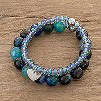Crystal and stainless steel beaded stretch bracelets, 'Glittering Ocean' (pair) - Crystal and Stainless Steel Beaded Stretch Bracelets (Pair)