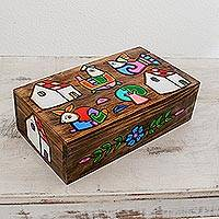 Wood decorative box, 'Village Harmony' - Hand-Painted Pinewood Decorative Box from El Salvador