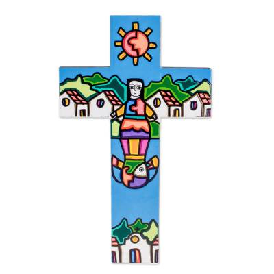 Village-Themed Wood Wall Cross from El Salvador