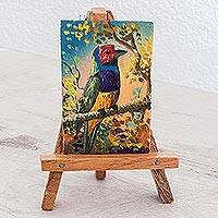 Painting with easel, 'Natural Enchantment' - Painting of a Colorful Bird with Easel from Guatemala