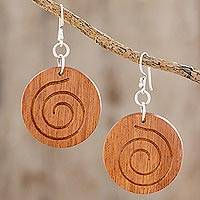Wood dangle earrings, 'Brown Spiral' - Spiral Pattern Wood Dangle Earrings from Guatemala