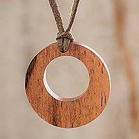 Wood pendant necklace, 'Harmony Ring' - Circular Adjustable Wood Pendant Necklace from Guatemala
