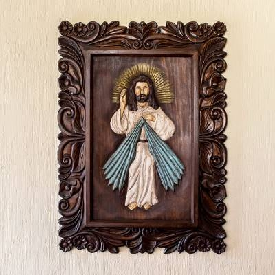Wood relief panel, 'He Is Risen' - Handcrafted Pinewood Jesus Relief Panel from Guatemala