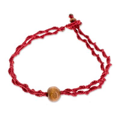 Wood Pendant Bracelet in Claret from Guatemala