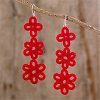 Hand-tatted dangle earrings, 'Petal Delight in Poppy' - Artisan Hand-Tatted Dangle Earrings in Poppy from Guatemala