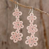 Hand-tatted dangle earrings, 'Petal Delight in Ecru' - Artisan Hand-Tatted Dangle Earrings in Ecru from Guatemala