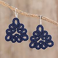 Hand-tatted dangle earrings, 'Petal Essence in Indigo' - Hand-Tatted Dangle Earrings in Indigo from Guatemala