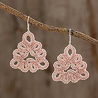 Hand-tatted dangle earrings, 'Petal Essence in Ecru' - Hand-Tatted Dangle Earrings in Ecru from Guatemala