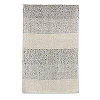 Wool and cotton blend area rug, 'Stone Stripes' (2x3) - Ivory and Taupe Broad Striped Wool Blend Area Rug (2x3)