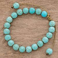 Beaded bracelet, 'Turquoise Hue' - Reconstituted Turquoise Beaded Bracelet from Guatemala
