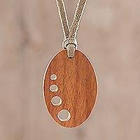 Wood pendant necklace, 'Abstract Ellipse' - Abstract Oval Jobillo Wood Pendant Necklace from Guatemala