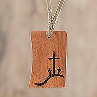 Wood pendant necklace, 'Calvary' - Christian Jobillo Wood Pendant Necklace from Guatemala
