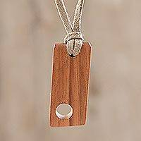 Wood pendant necklace, 'Abstract Symmetry' - Abstract Jobillo Wood Pendnant Necklace from Guatemala
