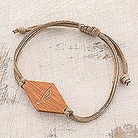 Wood pendant bracelet, 'Musical Harmony' - Music-Themed Jobillo Wood Pendant Bracelet from Guatemala