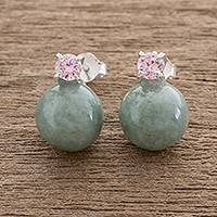 Jade drop earrings, 'Apple Green Sublime Fantasy' - Apple Green Jade Drop Earrings Crafted in Guatemala