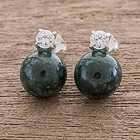 Jade drop earrings, 'Dark Green Sublime Fantasy' - Natural Jade Drop Earrings Crafted in Guatemala