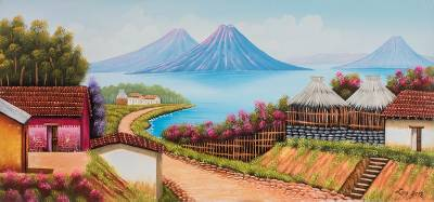 'Guatemalan Roots' - Signed Landscape Painting of a Lakeside Village