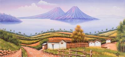 Painting of a Sunset at Lake Atitlan from Guatemala