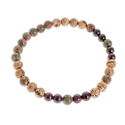 Multi-Gemstone Beaded Stretch Bracelet from Guatemala