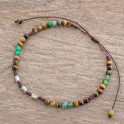 Tiger's eye and jasper beaded anklet, 'Colors of Life' - Tiger's Eye and Green Jasper Beaded Anklet from Guatemala