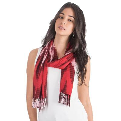 Rayon scarf, 'Sweet Zigzag' - Zigzag Rayon Scarf in Red from Guatemala