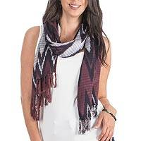 Rayon scarf, 'Lovely Zigzag' - Zigzag Rayon Scarf in Burgundy and Indigo from Guatemala