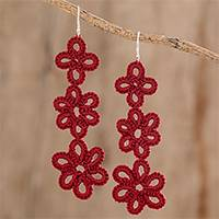Hand-tatted dangle earrings, 'Petal Delight in Cherry' - Hand-Tatted Dangle Earrings in Cherry from Guatemala
