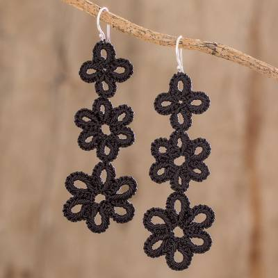 Hand-tatted dangle earrings, 'Petal Delight in Black' - Hand-Tatted Dangle Earrings in Black from Guatemala