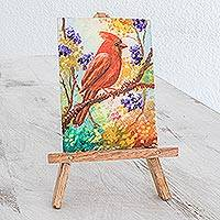 Miniature painting, 'Cardinal' - Miniature Cardinal Painting with an Easel from Guatemal