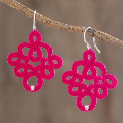 Hand-tatted dangle earrings, 'Cherry Lace' - Hand-Tatted Dangle Earrings in Cherry from Guatemala
