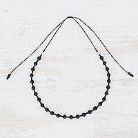 Onyx beaded necklace, 'Beautiful Nocturnal' - Onyx Beaded Necklace from Guatemala