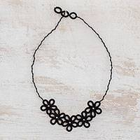 Hand-tatted pendant necklace, 'Black Flowers' - Hand-Tatted Floral Pendant Necklace in Black from Guatemala