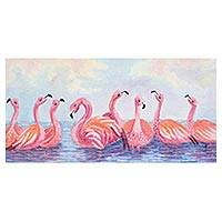 'Pink Reflection' - Signed Realist Painting of Flamingos from Guatemala