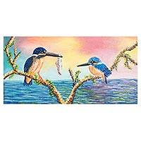 'Kingfisher' - Signed Realist Painting of Two Kingfishers from Guatemala