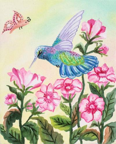 'Sweet Nectar' - Signed Realist Hummingbird Painting from Guatemala